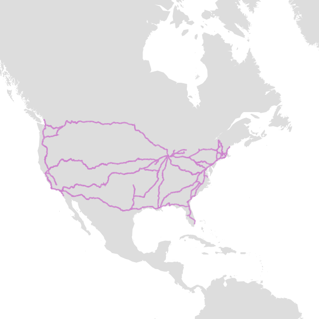 Amtrak Routes in raw WKB