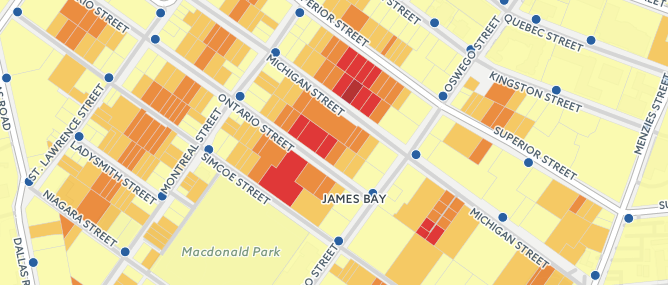 Nearest hydrant distance calculated per-parcel