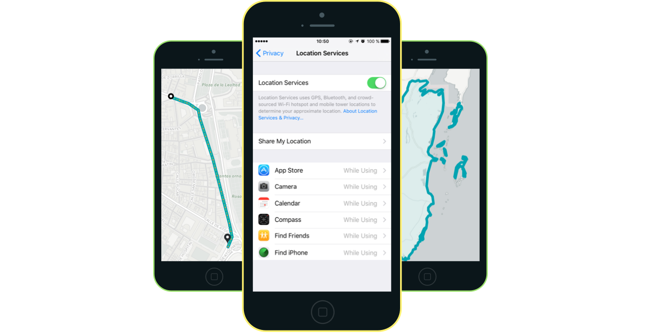 iOS Location Services screen