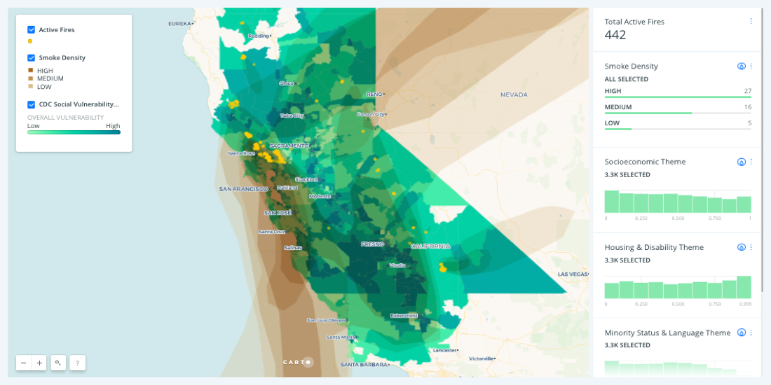 California Wildfire Maps: How fires and smoke are spreading — CARTO on