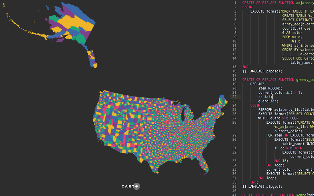 A SQL approach to graph coloring applied to maps
