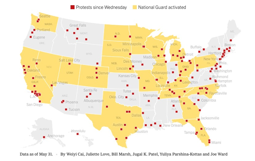 A map showing the scale of the protests across the US