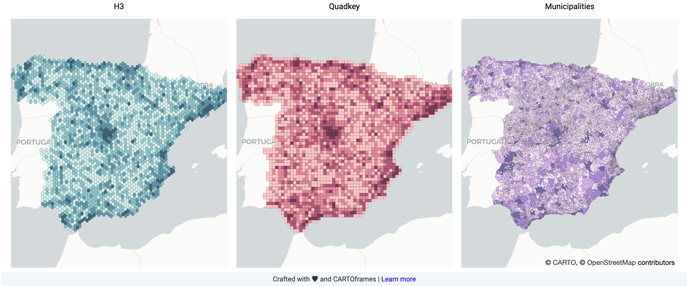 Comparison Spain map supply chain network optimization