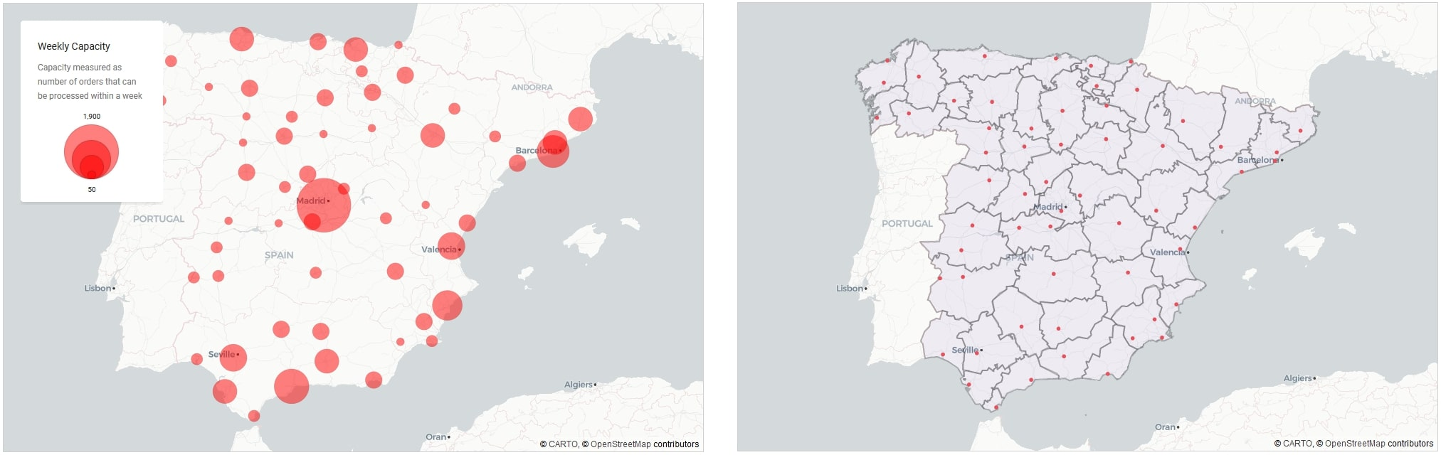 Figure 12: Distribution Centres | Locations and capacity (left panel), and current operational areas (right panel)