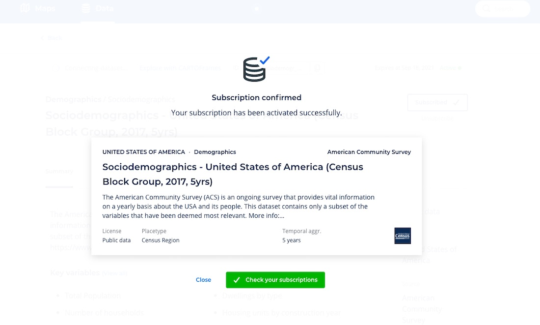 Screenshot showcasing confirmation of dataset subscription