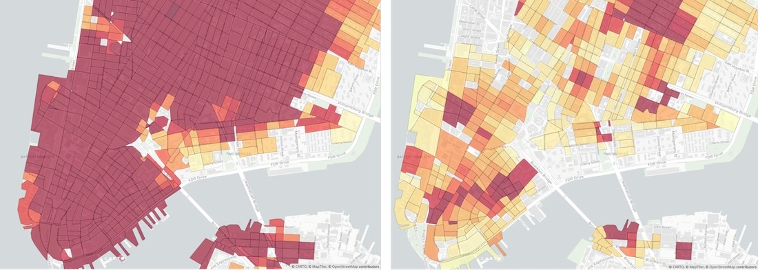 Side by side comparison of spending data changes in New York