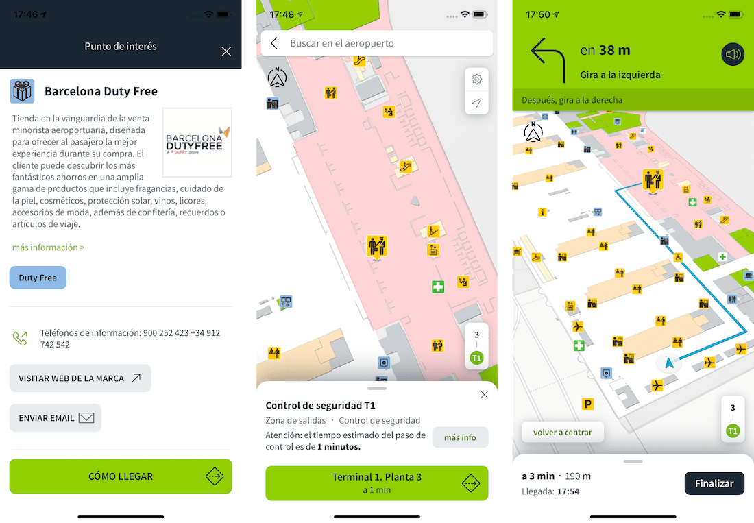 Mobile screenshots of AenaMaps being used at Barcelona Airport