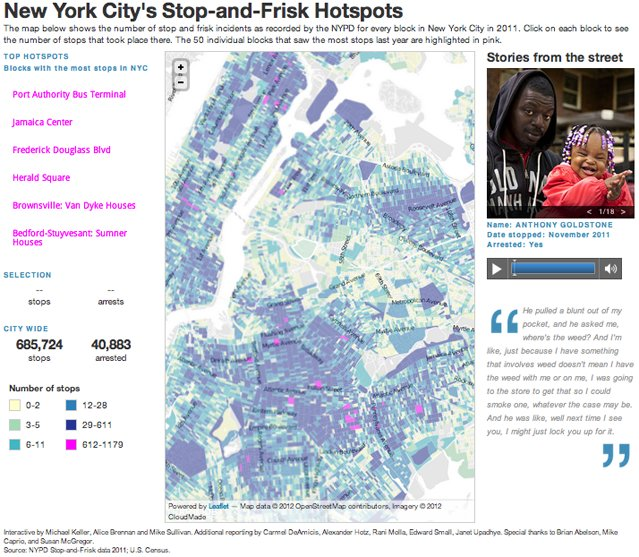 NYC stop-and-frisk hotspots map
