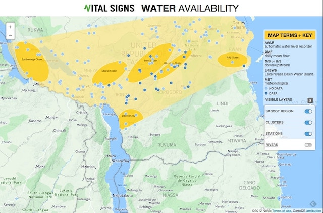 map of water availability in Tanzania rivers removed