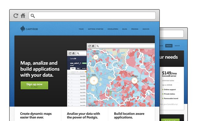 cartodb homepage on website