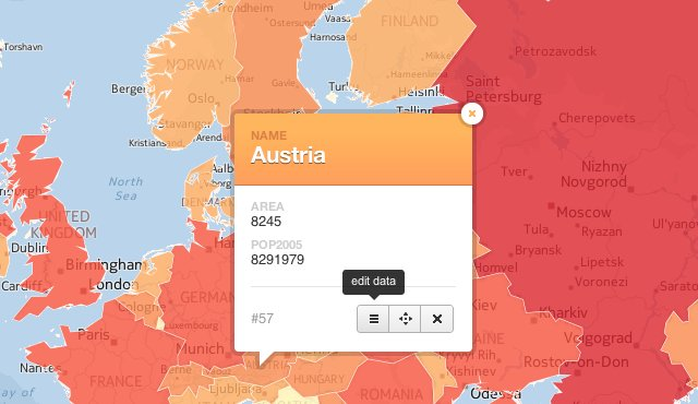 editing austria feature box directly on map