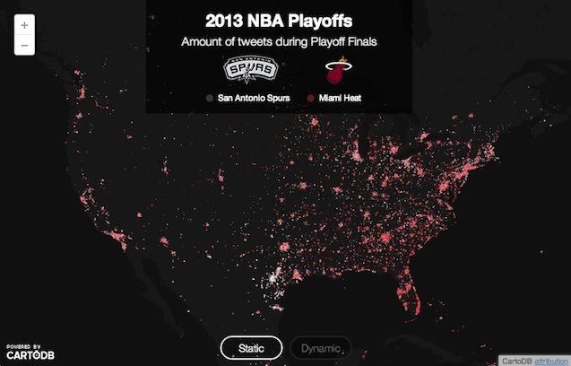 amount of tweets during 2013 nba playoffs on us map