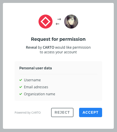 Example of a permission request