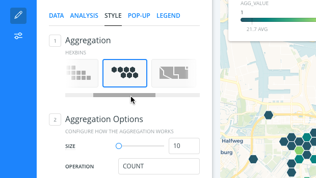 Changing aggregation styles