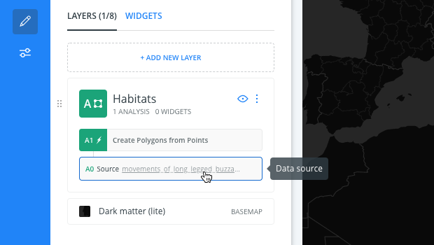 Select original source from map layer